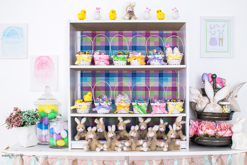 Easter Bunny Brunch Party Idea! Invite your girlfriends over to get your kids Easter Baskets done! Bring treats to share to fill the eggs...while enjoying brunch!