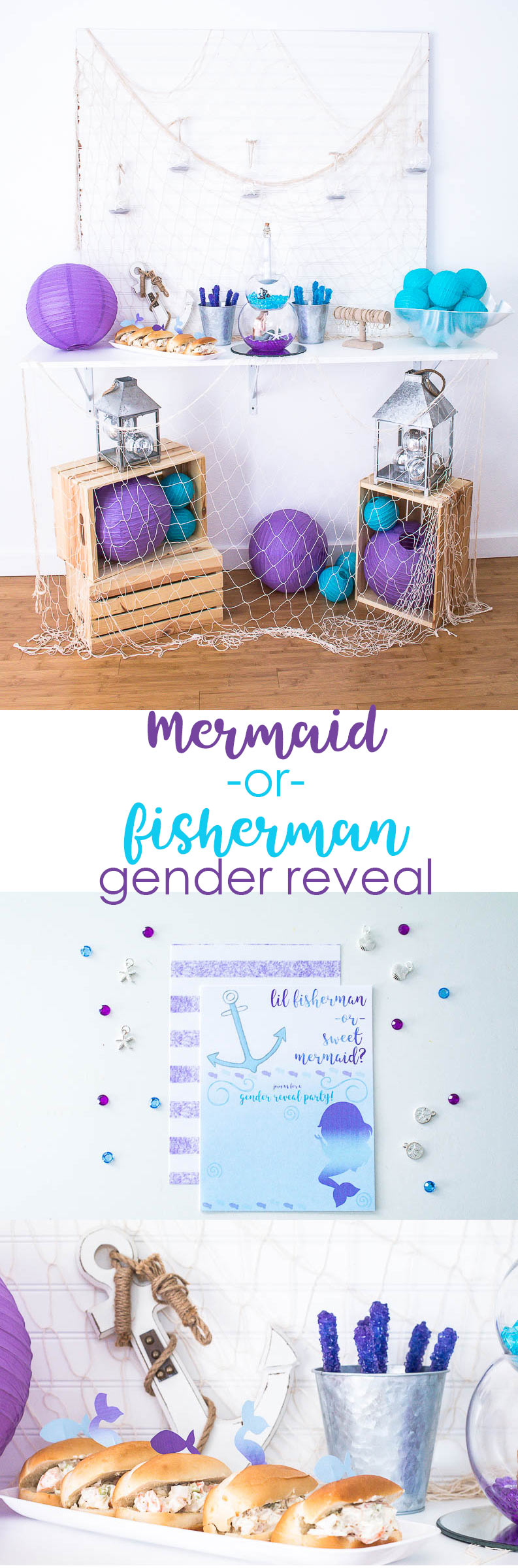 Mermaid or Fisherman Gender Reveal Party by Making the World Cuter
