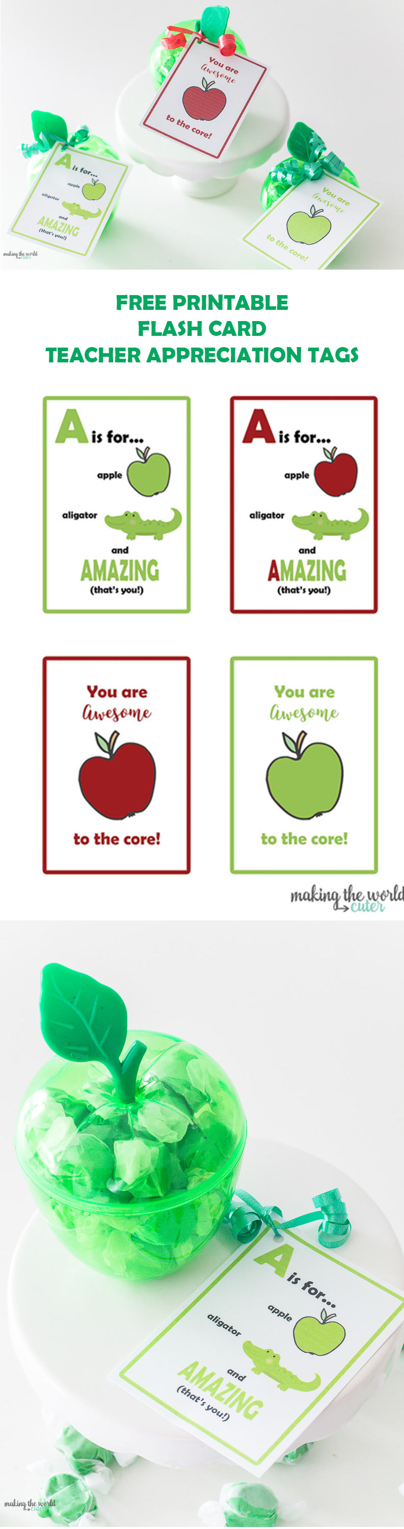 Apple Teacher Appreciation Printable tags and ideas on what to give with them. Flashcard style. so cute!