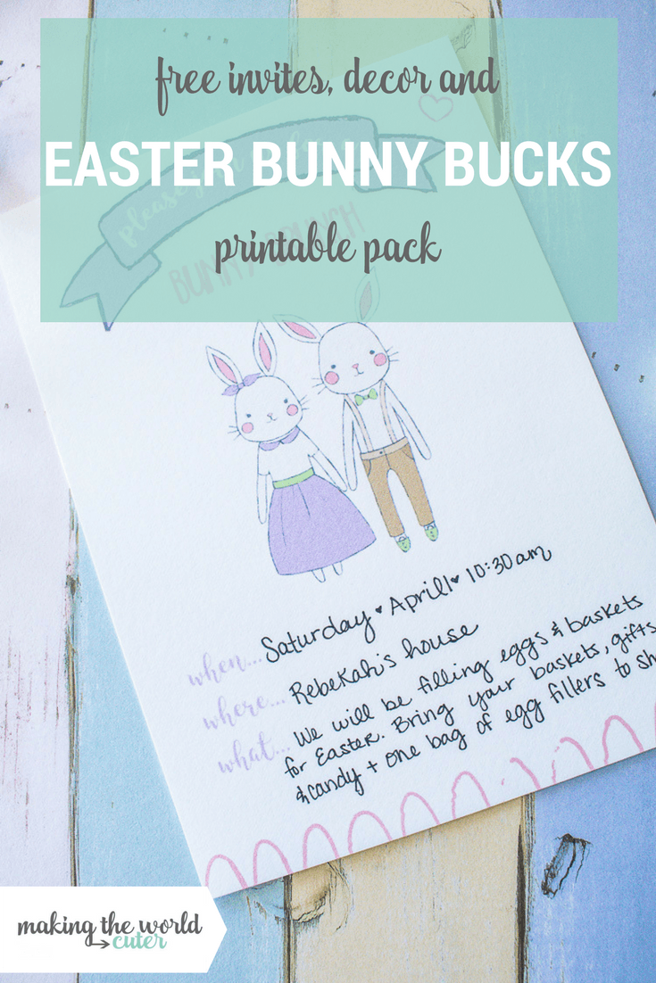 Easter Bunny Bucks, Invites and Decor Free Printable Pack