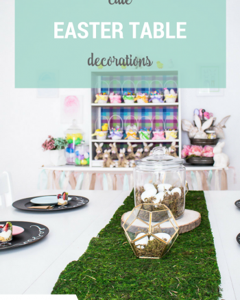 Easter Table Decorations for an Easter or Spring Party tables setting.