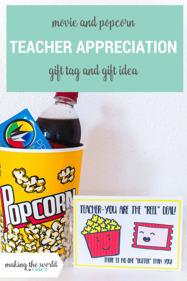 Movie Teacher Appreciation Ideas Free Printable Tag