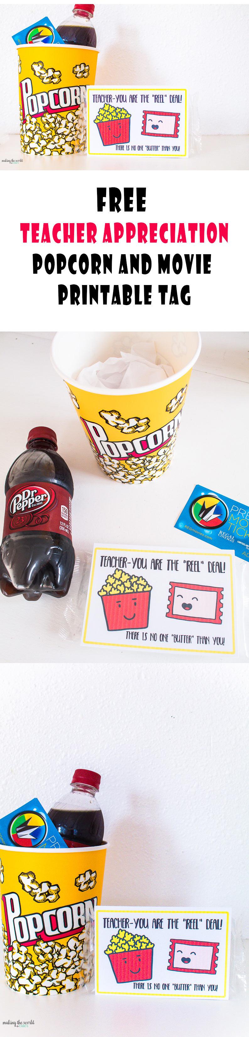 graphic regarding Popcorn Teacher Appreciation Printable called Video Trainer Appreciation Tips No cost Printable Tag