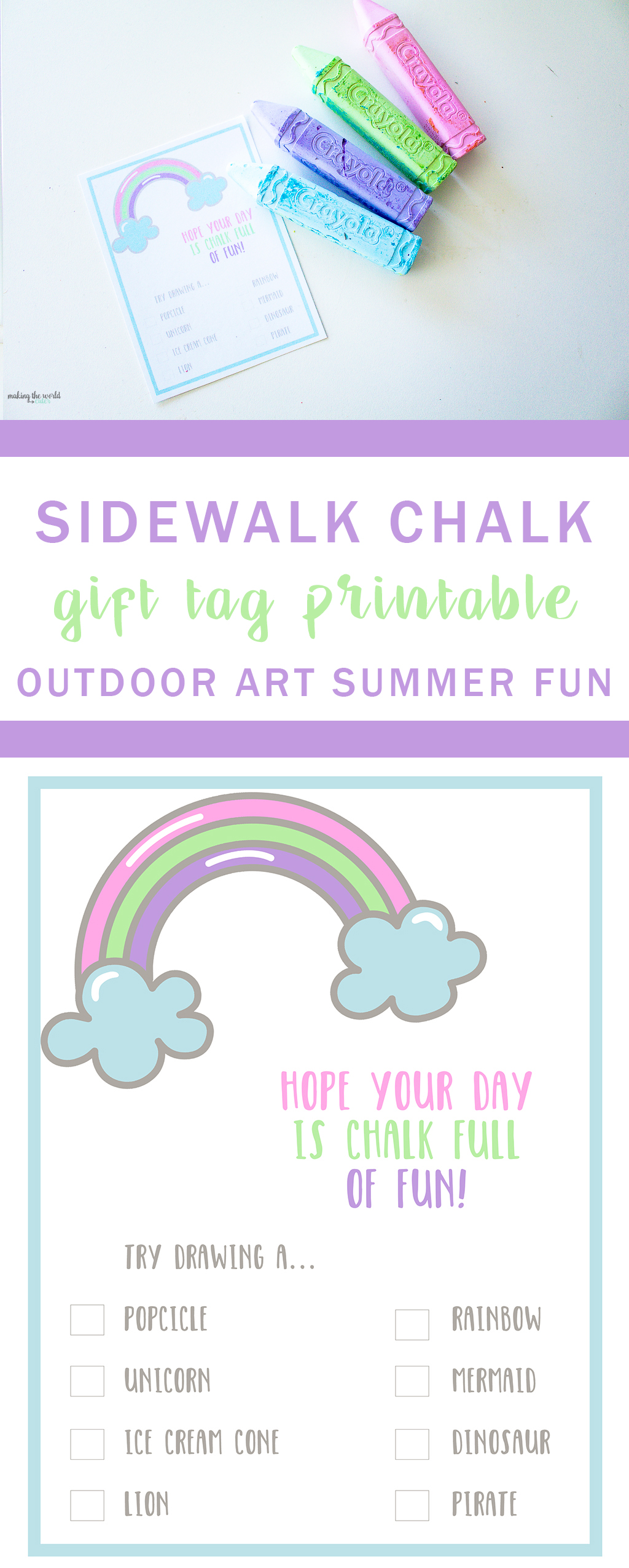 Outdoor Art Sidewalk Chalk Printable Gift Tag