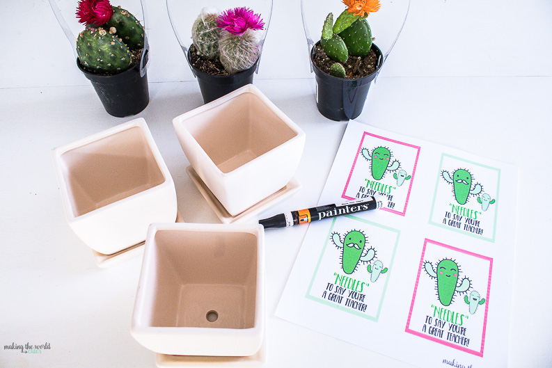 """Cactus Teacher Gift Free Printable Tags. """"Needles"""" To Say, You're A Great Teacher!"""