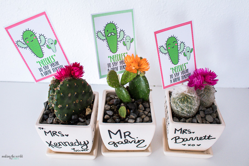 "Cactus Teacher Gift Free Printable Tags. ""Needles"" To Say, You're A Great Teacher!"
