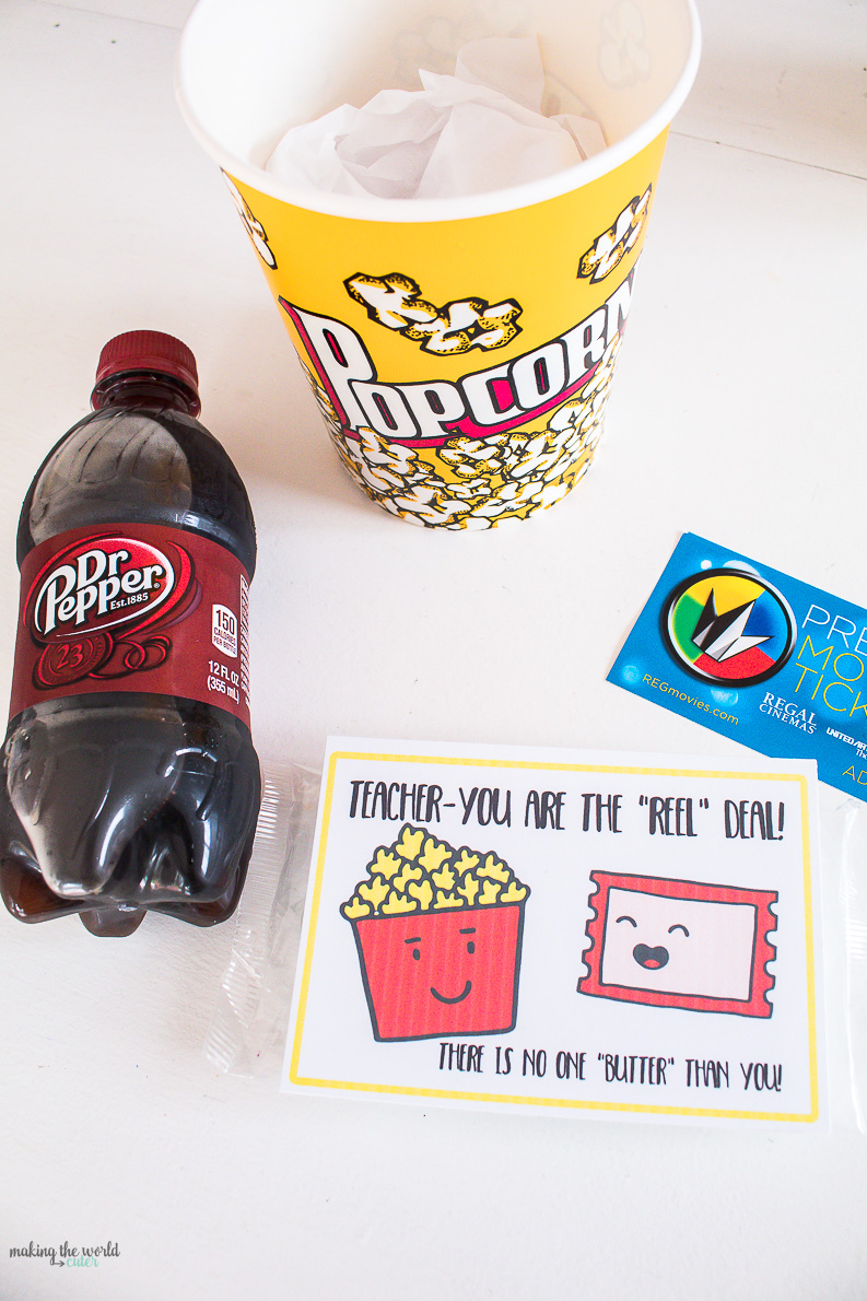 Lots and lots of free printables! Movie Teacher Appreciation gift tags and ideas.