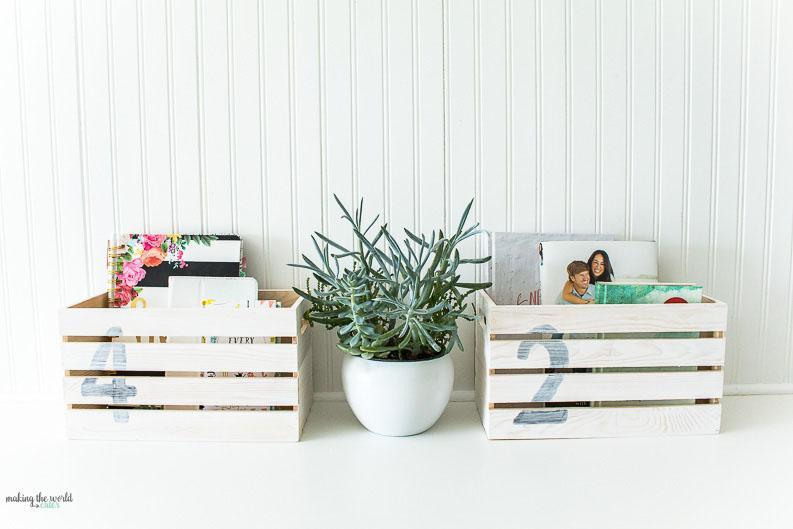 DIY Farmhouse Style Book Crates