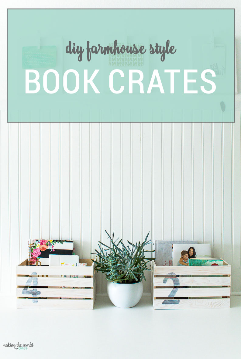 farmhouse style book crates simple diy with stencils. Black Bedroom Furniture Sets. Home Design Ideas