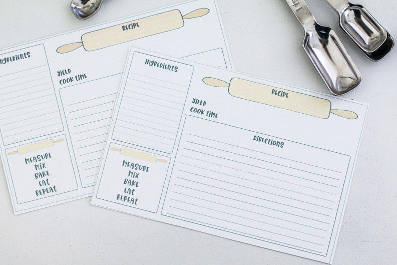 Baking Recipe Cards Free Printable