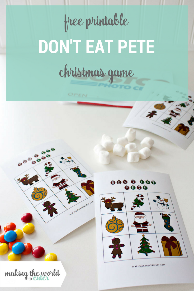 Don't Eat Pete Chirstmas Free Printable Game for Class Parties and More