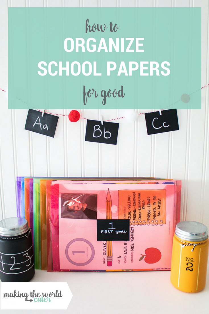 How to organize school papers for good! This is the best system for storing and sorting out all of those school papers that come home!