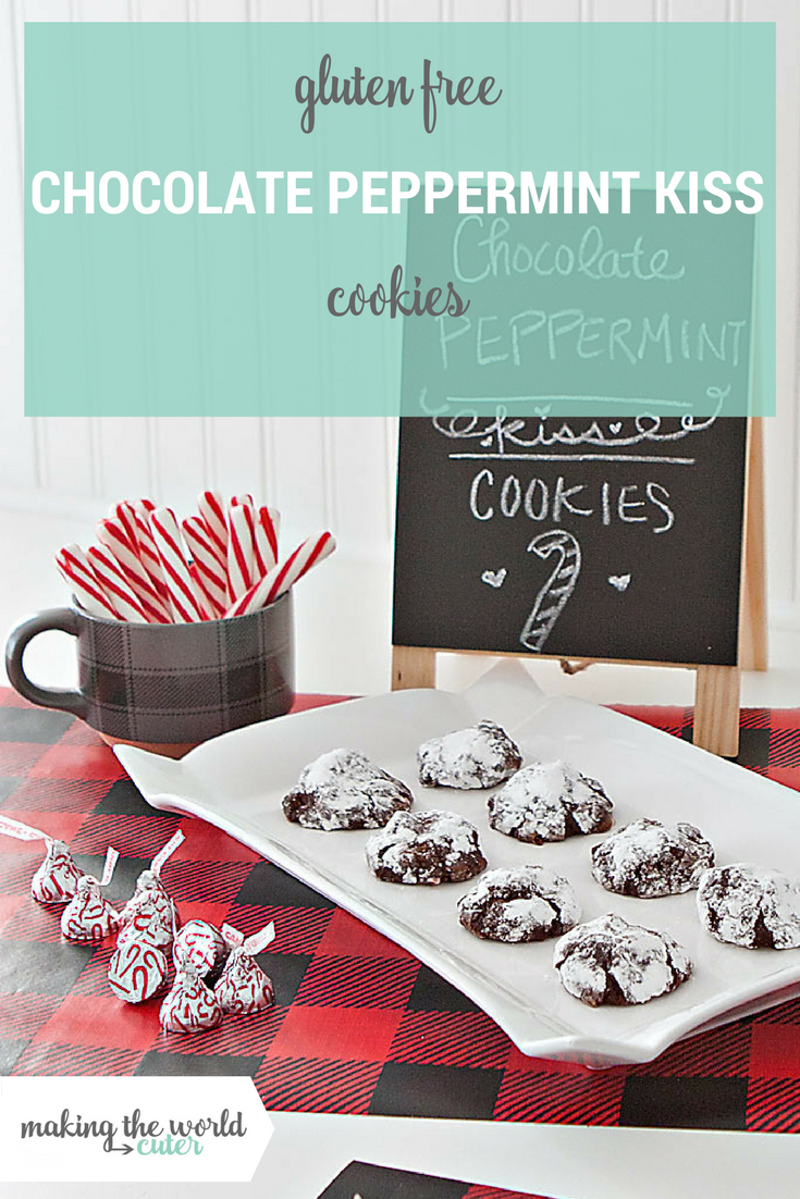 Flourless Chocolate Peppermint Kiss Cookies