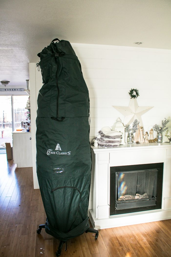 Rolling, tall Storage bag for Christmas Tree, How to transition from Christmas to Winter