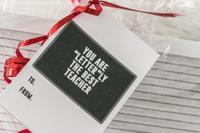 Letter board gift idea gift tag for teacher appreciation