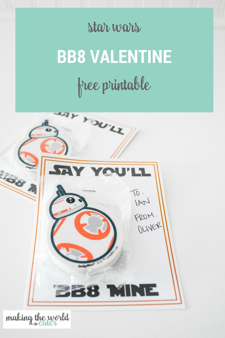 Star Wars BB8 Mine Valentine Printable Cards