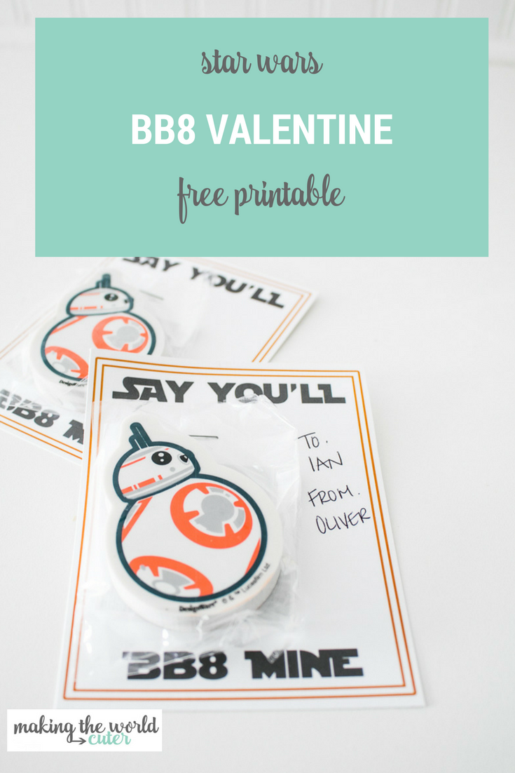Star Wars BB8 Mine Valentine Printable Card with BB8 erasers