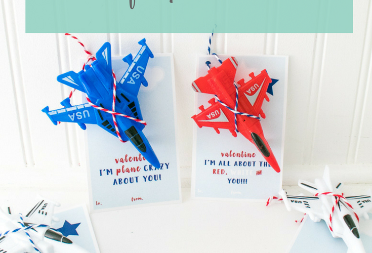 Plane Valentine Printable Cards in Red, White and Blue
