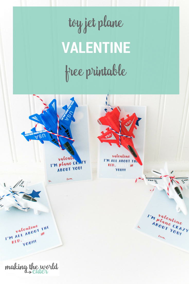 Red white and blue jet plane toys with printable valentine cards and text overlay