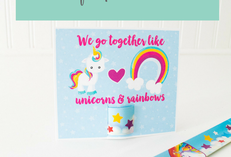 Unicorn Valentine Slap Bracelet Printable Card