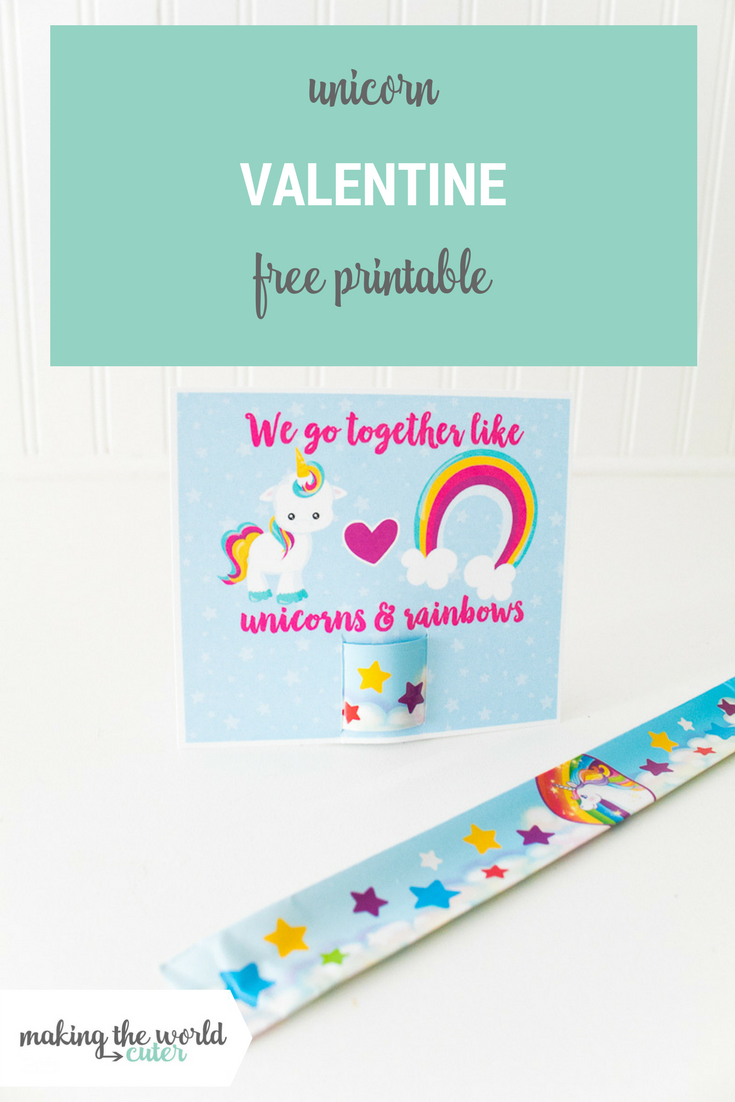 Unicorn Valentine Slap Bracelet Printable Card