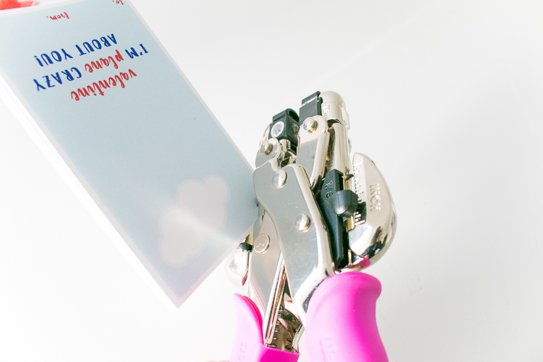 Pink cropodile hole punch with plane valentine printable cards