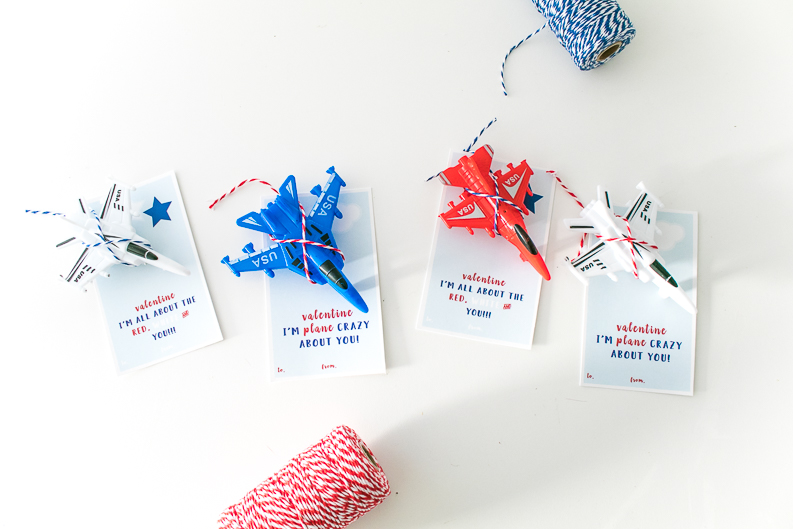 Plane Valentine Printable Cards with Red white and Blue Jet Plane toys and red and blue bakers twine