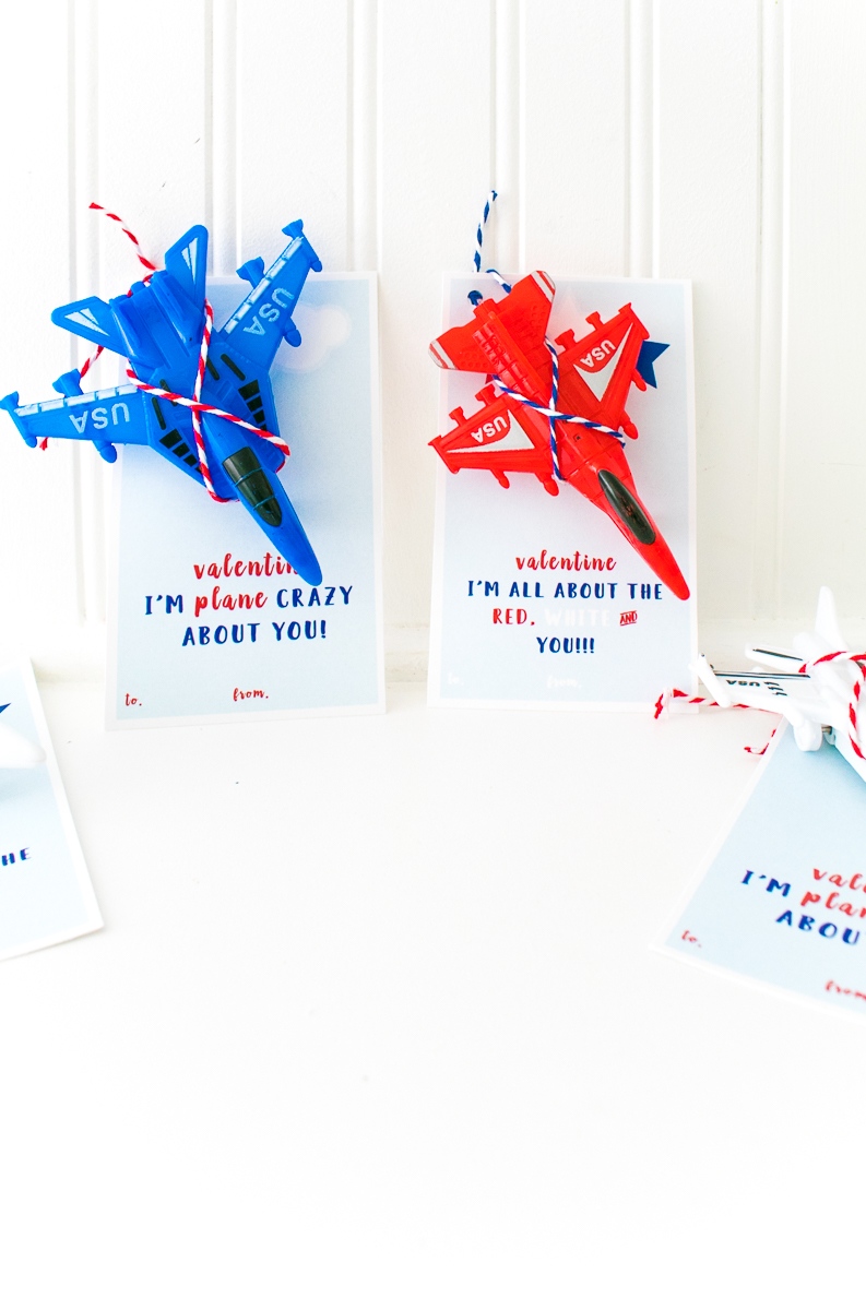 Red and Blue Jet Plane Toys with plane valentine printable cards with text, I'm crazy about the red, white and YOU! and Valentine I'm plane crazy about you!
