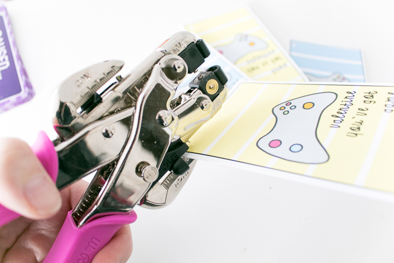 Video Game Valentine's Day Cards hole punch