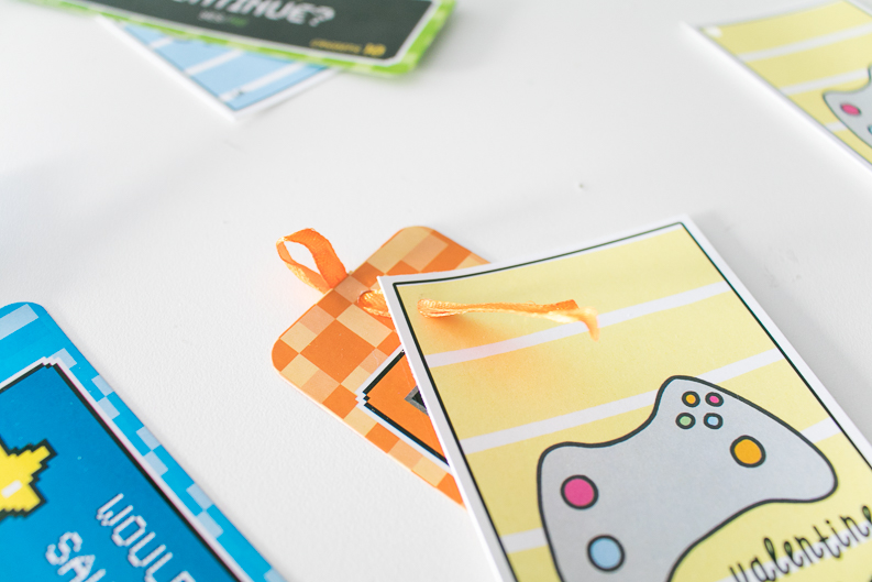 Video Game Valentine's Day Cards with bookmark ribbon