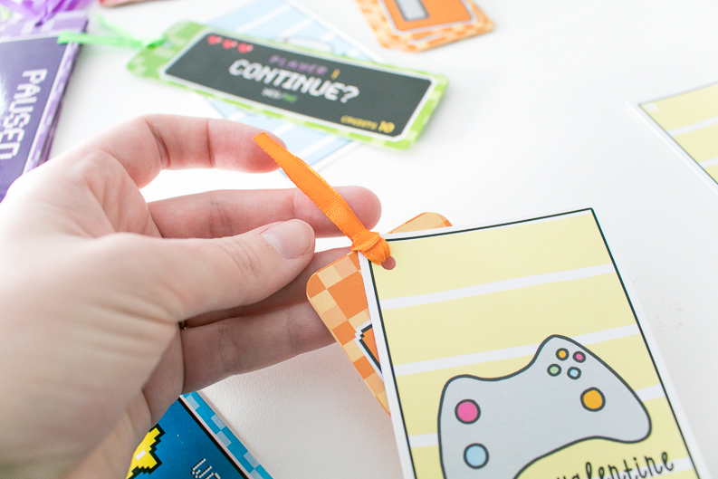 Video Game Valentine's Day Cards with orange bookmark