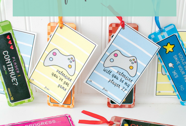 Video Game Valentine's Day Cards with Bookmarks