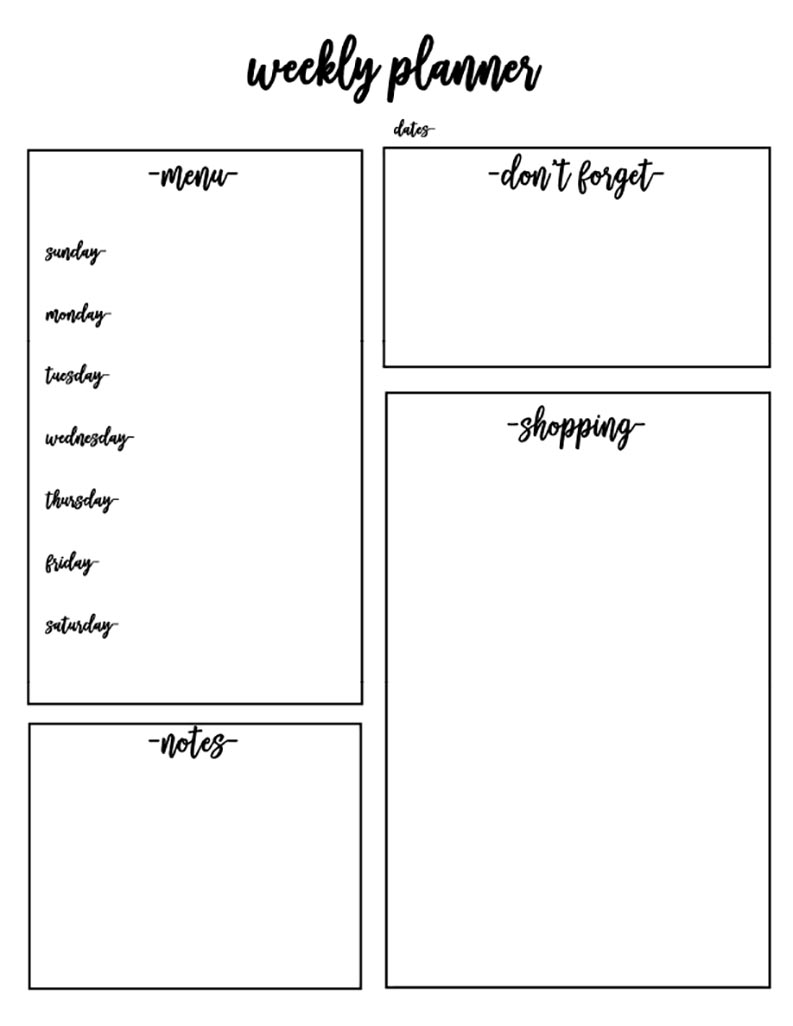 Weekly Planner Free Printable Template