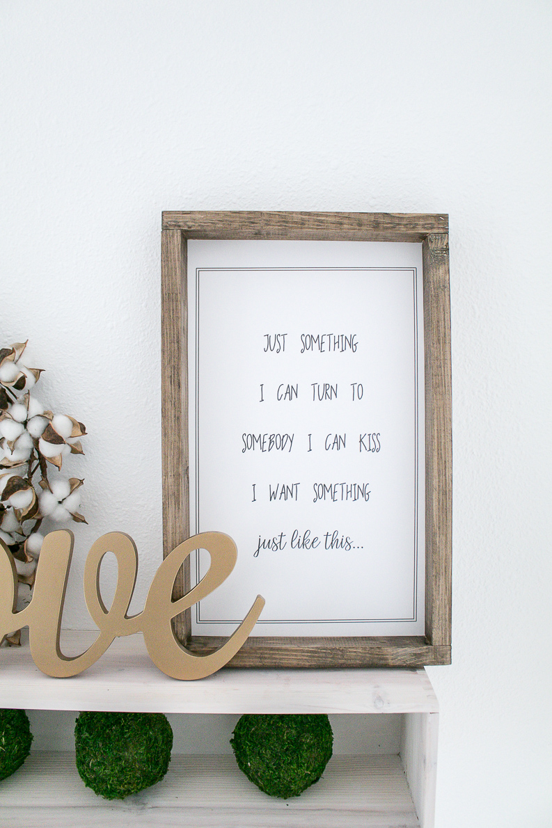 Music Lyrics Print of Something Just Like This in a farmhouse style frame