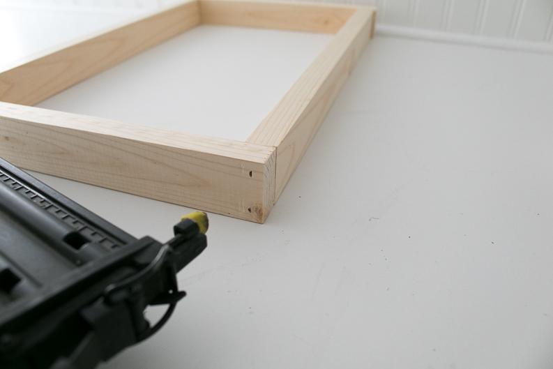 Nail gun and basic wood frame for Music Lyrics Print