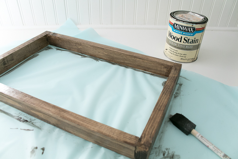 Stained wood frame with can of Minwax stain for Music Lyrics Print