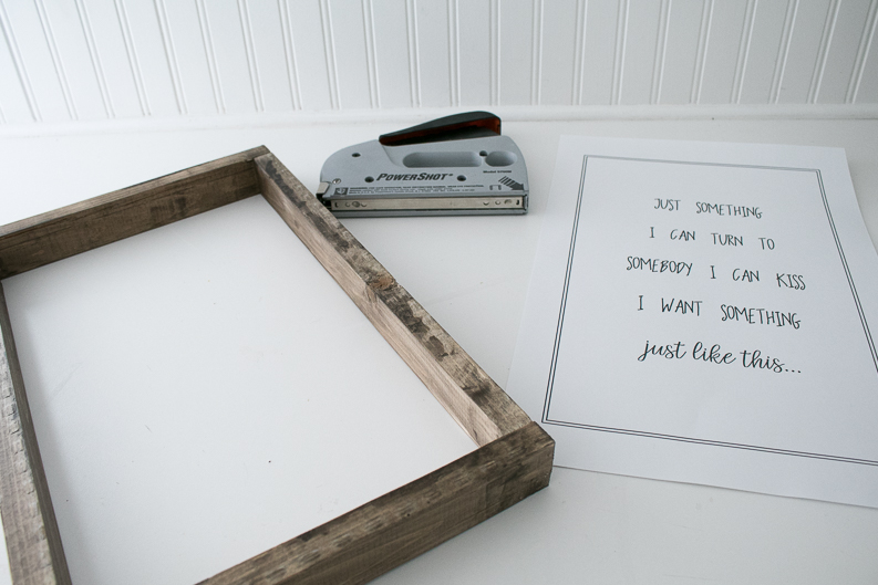 Stapler, Music Lyrics Print and Stained farmhouse style frame