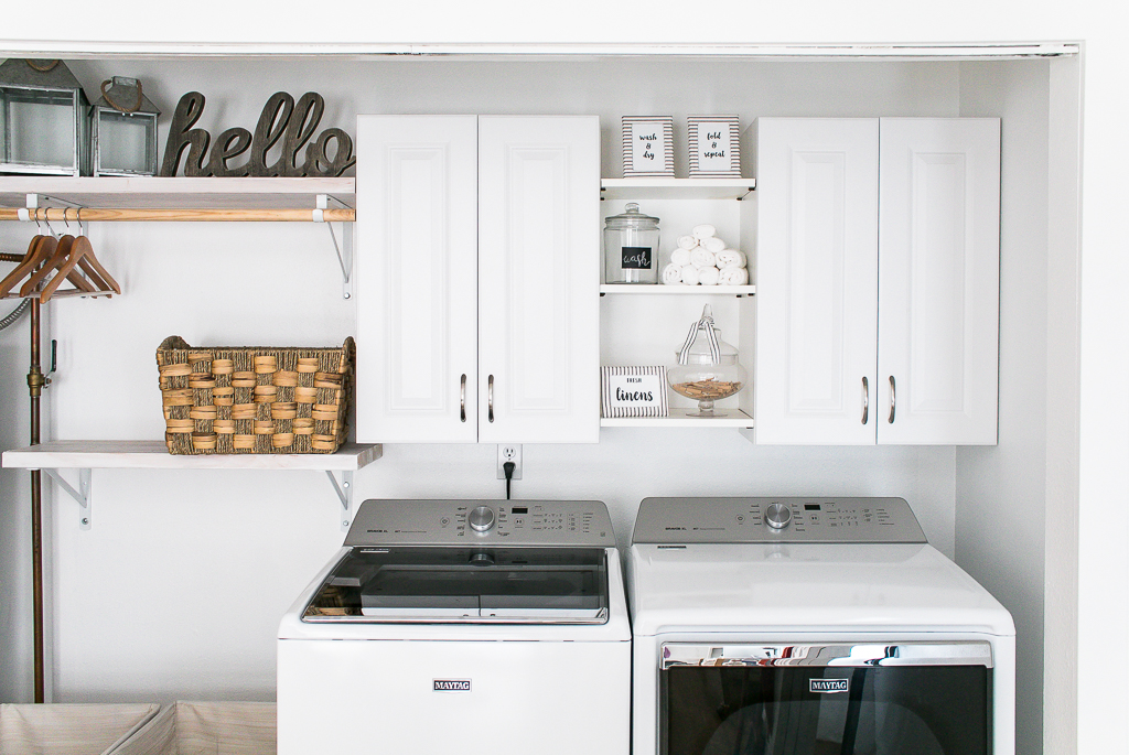 White Farmhouse Laundry Room Makeover