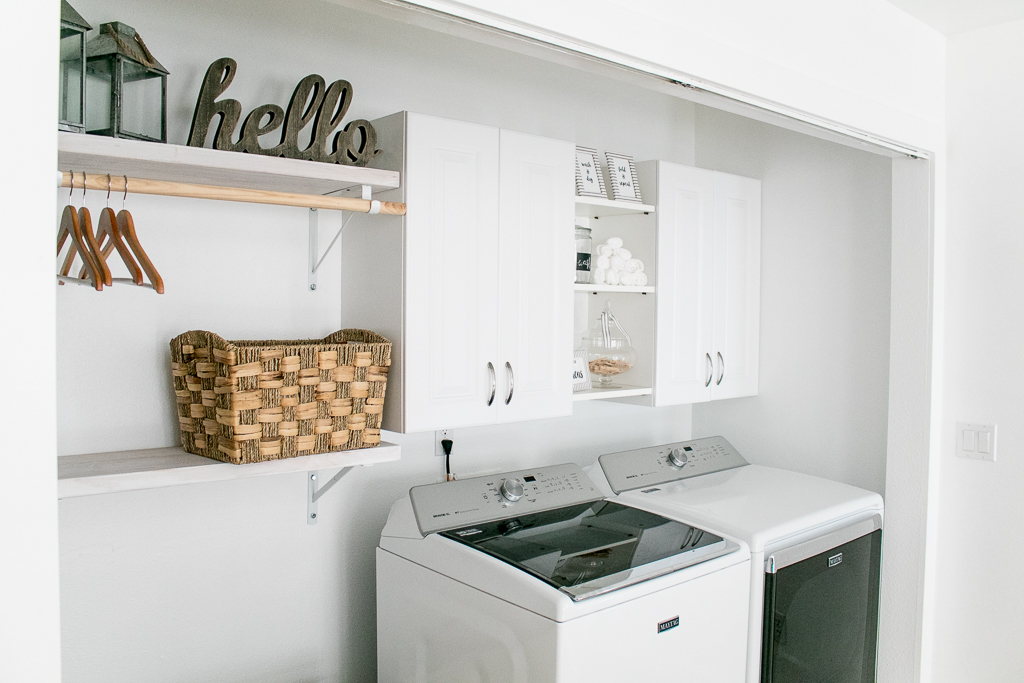 White Farmhouse Laundry Room Remodel