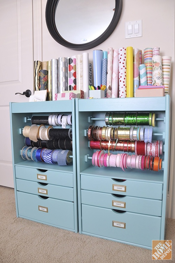Organized Gift Wrapping Storage Ideas