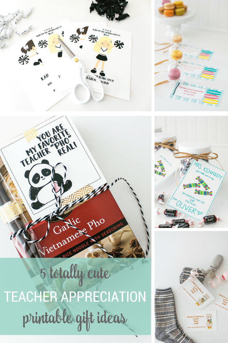 5 Cute Teacher Appreciation Printable Gift Ideas