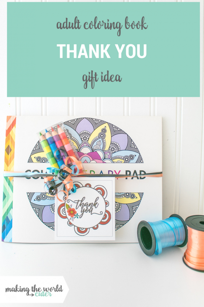 Coloring Book Gift Idea with Free Printable Thank You Gift Tags