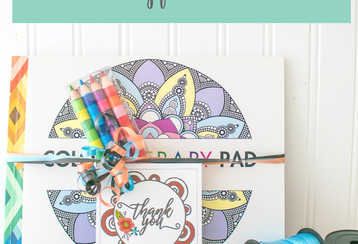 Coloring Book Gift Idea and Thank You Gift Tags