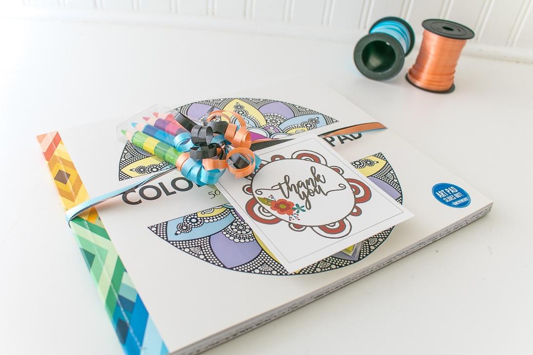 Mandala Coloring Book and Thank You Gift Tag