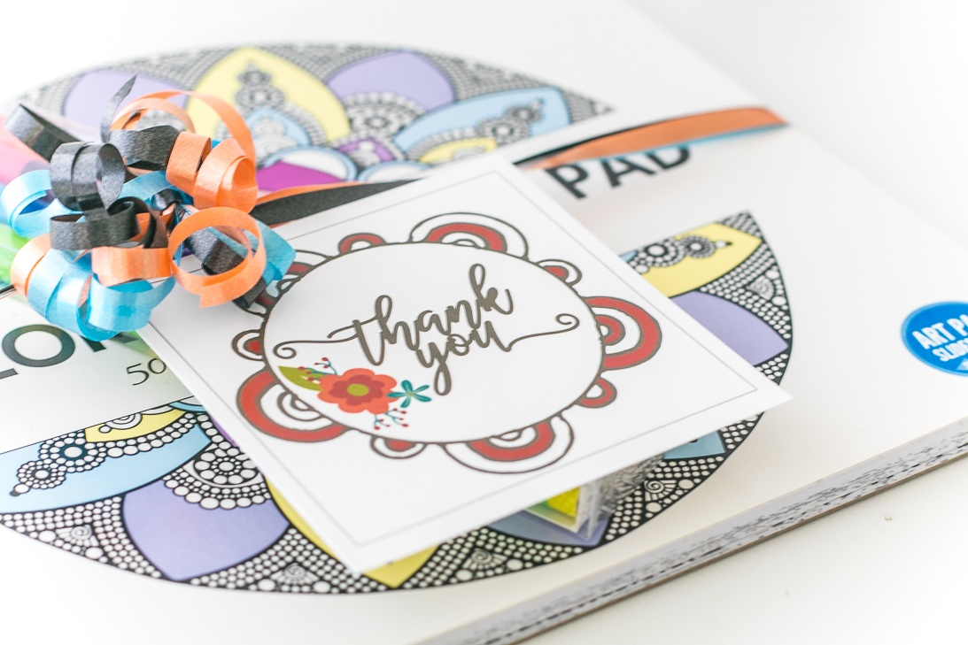Coloring Book Thank You Gift Tag