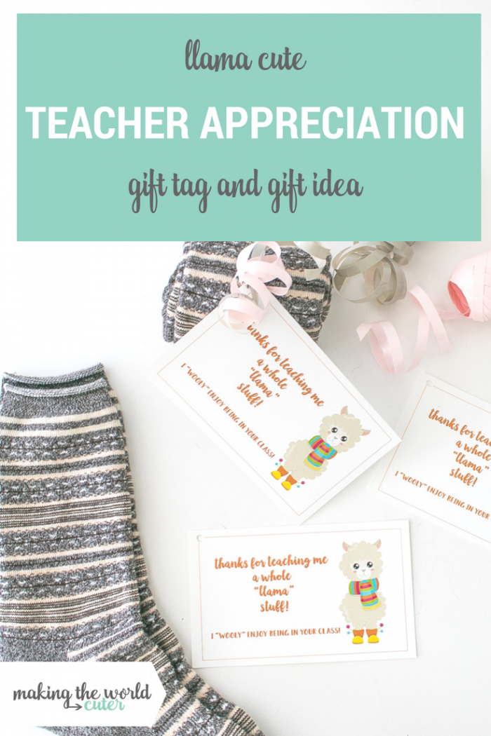 LLama Teacher Appreciation Free Printable Gift Tag and Gift Idea. Gotta love Llama puns!
