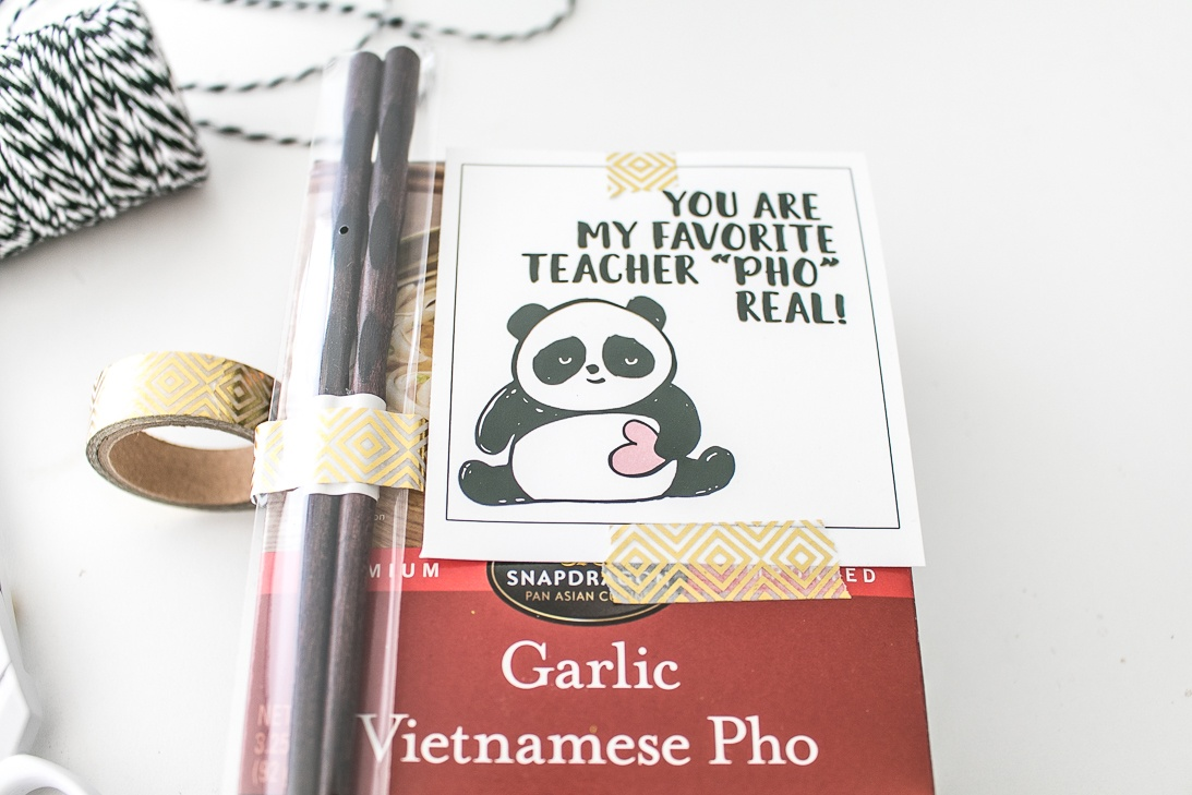 Pho Real Teacher Appreciation Food Gift Idea with Panda printable