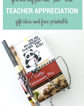 "Teacher Appreciation Food Gift Idea. Pho with cute Panda printable that says ""You are my favorite teacher ""pho"" real"". Gift idea to pair with a pair of chopsticks"