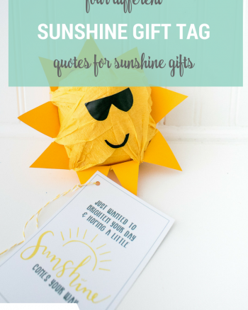 Sunshine Gift Tags Free Printable, four different quotes for all kinds of gift ideas, including baskets or buckets of sunshine, or this cute sunshine surprise ball gift idea!