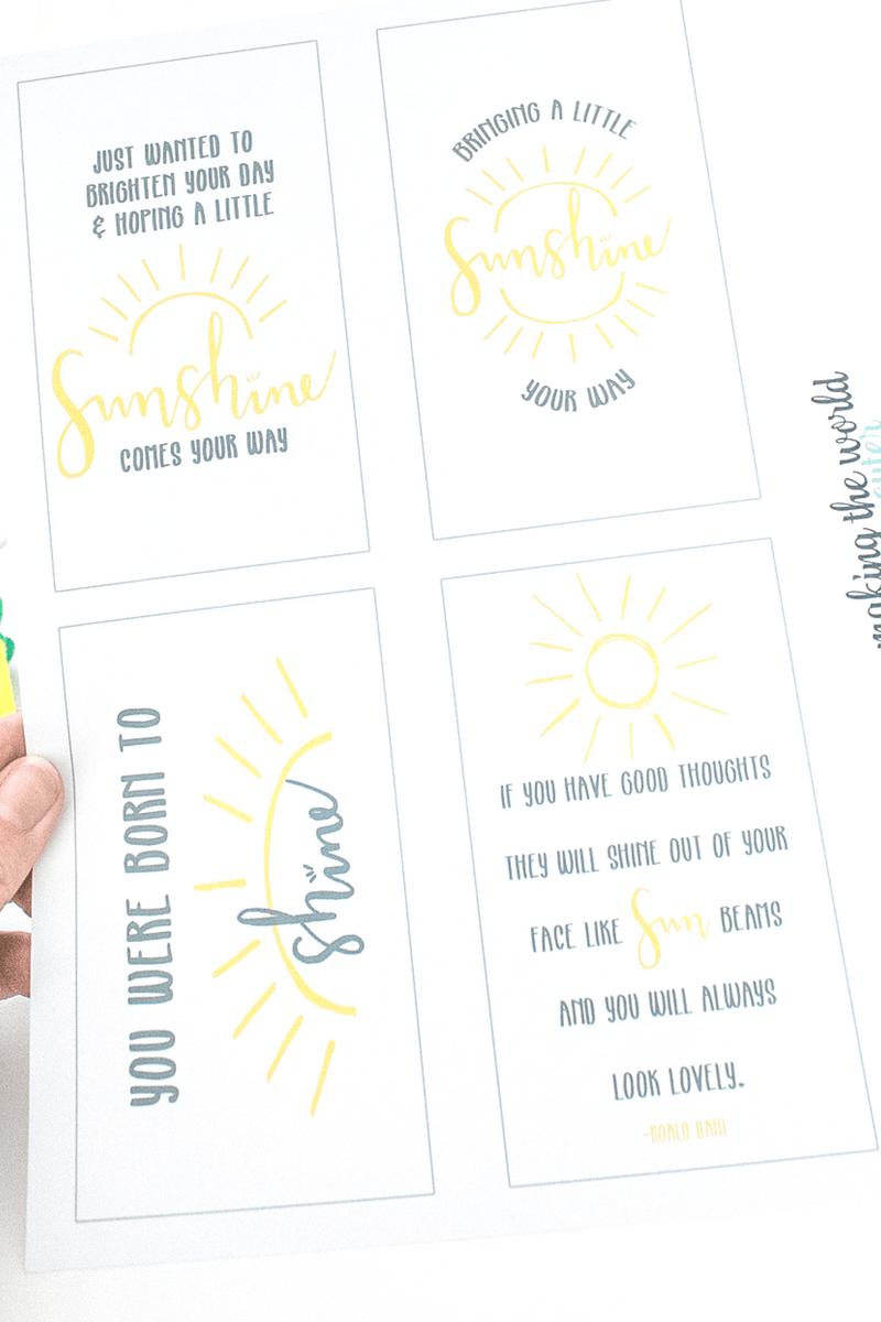 Sunshine Gift Tags Free Printable